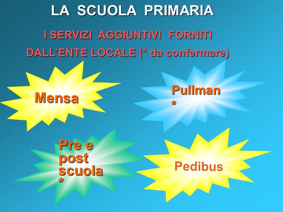 Pullman * Mensa I SERVIZI AGGIUNTIVI FORNITI DALL'ENTE LOCALE (* da confermare) Pre e post scuola * LA SCUOLA PRIMARIA Pedibus