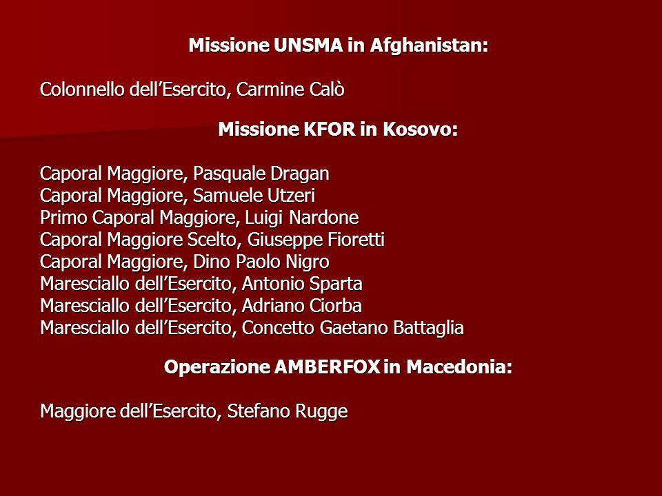 Missione UNSMA in Afghanistan: Colonnello dell'Esercito, Carmine Calò Missione KFOR in Kosovo: Caporal Maggiore, Pasquale Dragan Caporal Maggiore, Sam