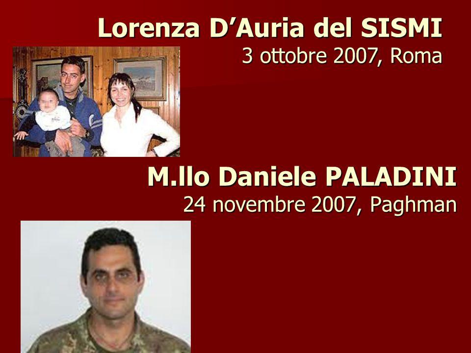 M.llo Daniele PALADINI 24 novembre 2007, Paghman Lorenza D'Auria del SISMI 3 ottobre 2007, Roma