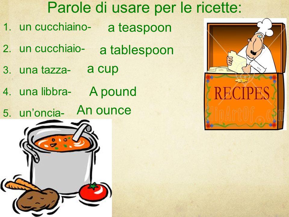Parole di usare per le ricette: 1.un cucchiaino- 2.