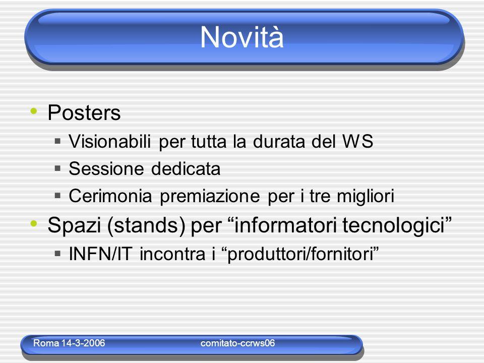 Roma 14-3-2006comitato-ccrws06 Novità Posters  Visionabili per tutta la durata del WS  Sessione dedicata  Cerimonia premiazione per i tre migliori Spazi (stands) per informatori tecnologici  INFN/IT incontra i produttori/fornitori