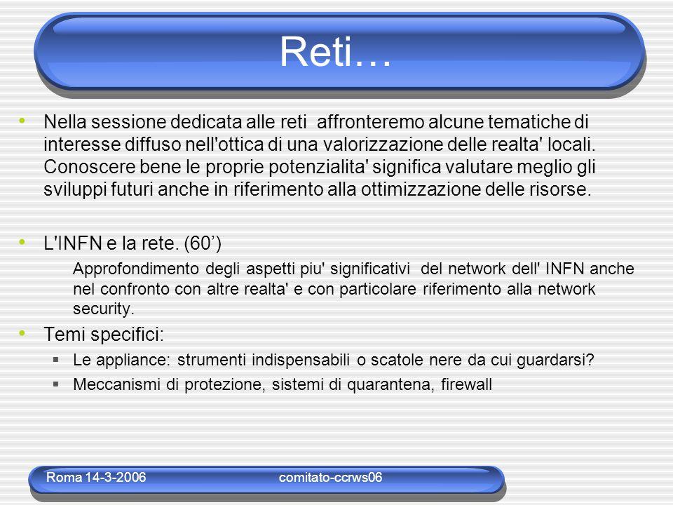 Roma 14-3-2006comitato-ccrws06 Reti… Nella sessione dedicata alle reti affronteremo alcune tematiche di interesse diffuso nell'ottica di una valorizza