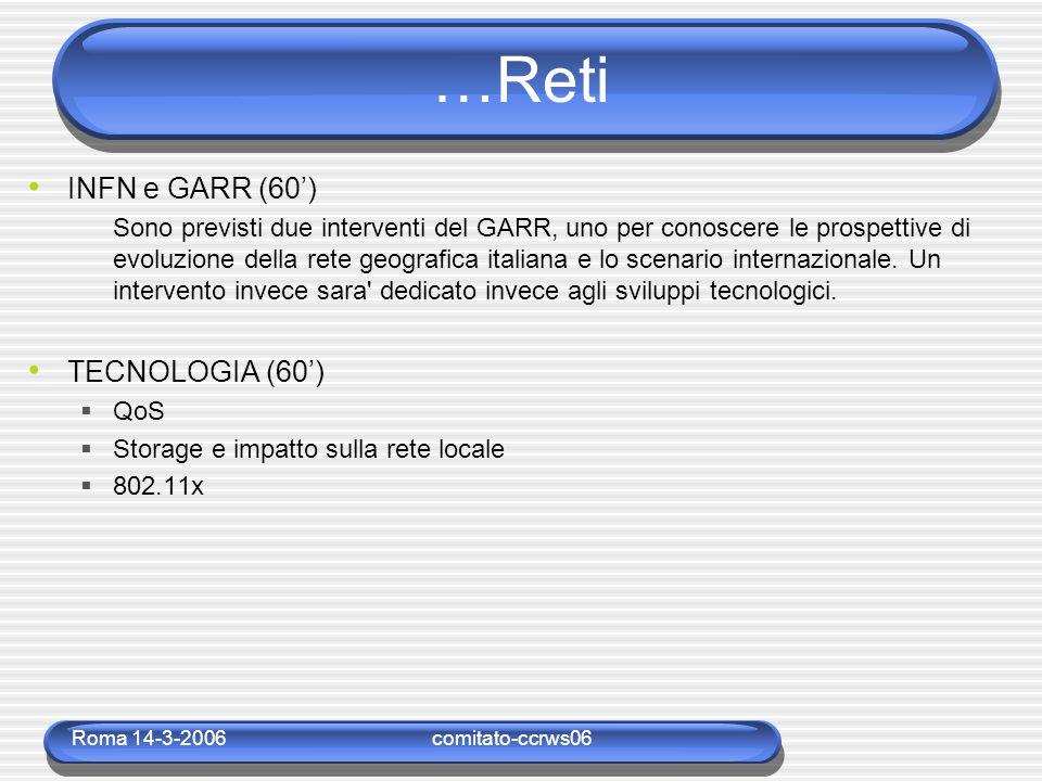 Roma 14-3-2006comitato-ccrws06 …Reti INFN e GARR (60') Sono previsti due interventi del GARR, uno per conoscere le prospettive di evoluzione della rete geografica italiana e lo scenario internazionale.