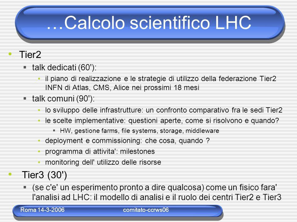 Roma 14-3-2006comitato-ccrws06 …Calcolo scientifico LHC Tier2  talk dedicati (60 ): il piano di realizzazione e le strategie di utilizzo della federazione Tier2 INFN di Atlas, CMS, Alice nei prossimi 18 mesi  talk comuni (90 ): lo sviluppo delle infrastrutture: un confronto comparativo fra le sedi Tier2 le scelte implementative: questioni aperte, come si risolvono e quando.