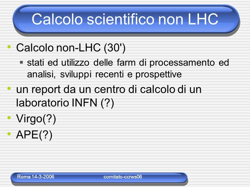 Roma 14-3-2006comitato-ccrws06 Calcolo scientifico non LHC Calcolo non-LHC (30 )  stati ed utilizzo delle farm di processamento ed analisi, sviluppi recenti e prospettive un report da un centro di calcolo di un laboratorio INFN ( ) Virgo( ) APE( )