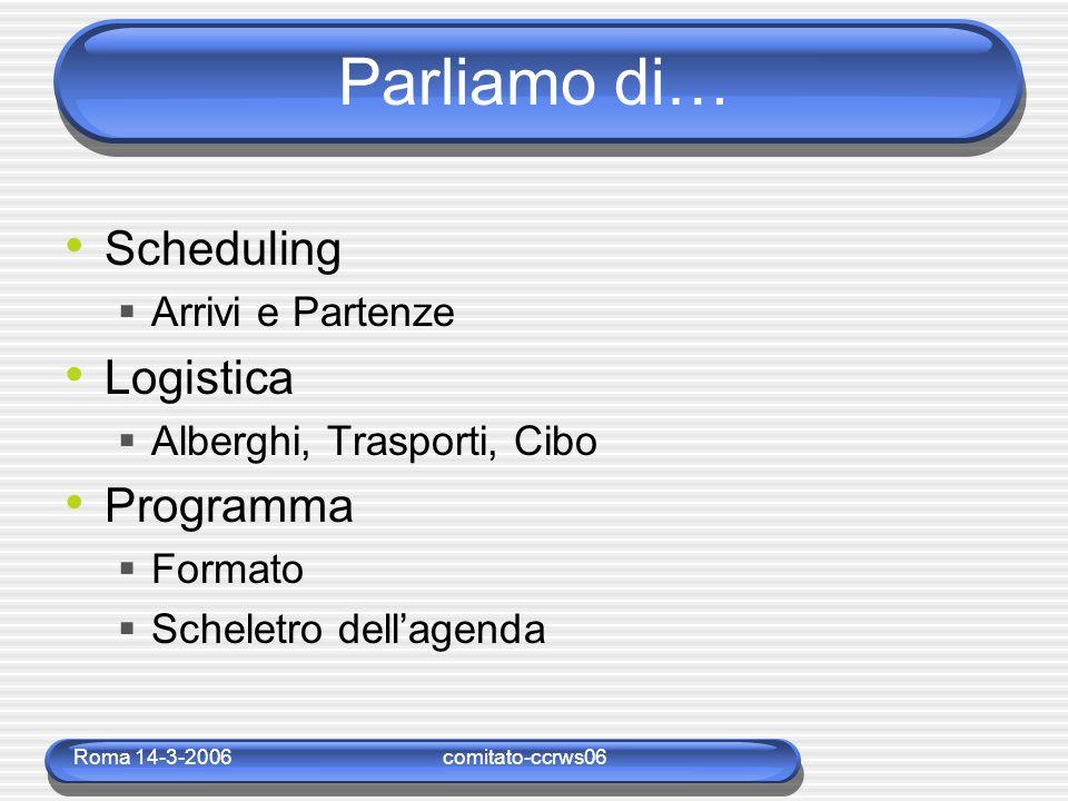 Roma 14-3-2006comitato-ccrws06 Parliamo di… Scheduling  Arrivi e Partenze Logistica  Alberghi, Trasporti, Cibo Programma  Formato  Scheletro dell'agenda