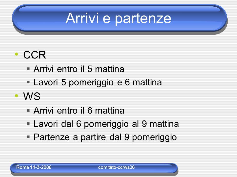 Roma 14-3-2006comitato-ccrws06 Arrivi e partenze CCR  Arrivi entro il 5 mattina  Lavori 5 pomeriggio e 6 mattina WS  Arrivi entro il 6 mattina  La