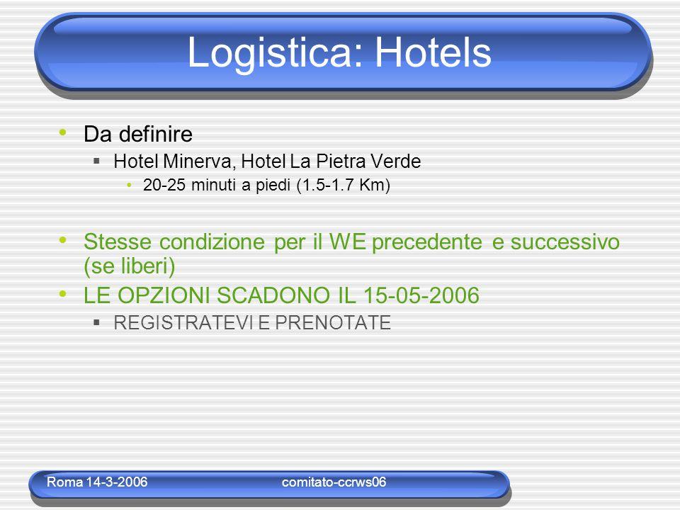 Roma 14-3-2006comitato-ccrws06 Logistica: Hotels Da definire  Hotel Minerva, Hotel La Pietra Verde 20-25 minuti a piedi (1.5-1.7 Km) Stesse condizione per il WE precedente e successivo (se liberi) LE OPZIONI SCADONO IL 15-05-2006  REGISTRATEVI E PRENOTATE