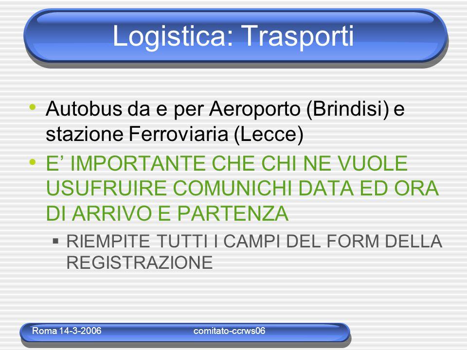 Roma 14-3-2006comitato-ccrws06 Logistica: Cibo Coffee breack  10:30-11:00, 17:00-17:30 Pranzi  Hotel degli Haethey 13:00 (14.00 €) Nella ricevuta camera per gli ospiti dell'Hotel Ricevuta a parte per gli esterni Cene  Libere tipicamente verso le 21:00 (si cena anche dopo le 23:00)  Lista dei ristoranti (su web e nella documentazione) Cena sociale Mercoledì 7 giugno 21:00  Masseria console (25.00 €)