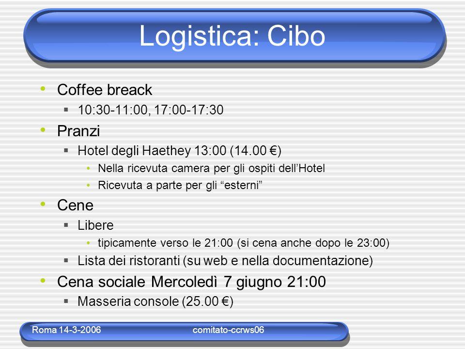 Roma 14-3-2006comitato-ccrws06 Logistica: Cibo Coffee breack  10:30-11:00, 17:00-17:30 Pranzi  Hotel degli Haethey 13:00 (14.00 €) Nella ricevuta ca