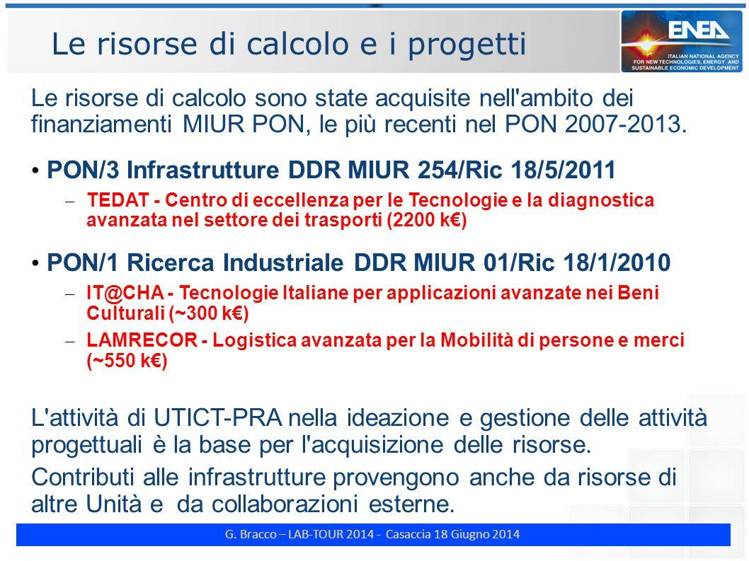 G. Bracco – LAB-TOUR 2014 - Casaccia 18 Giugno 2014 Le risorse di calcolo e i progetti Le risorse di calcolo sono state acquisite nell'ambito dei fina