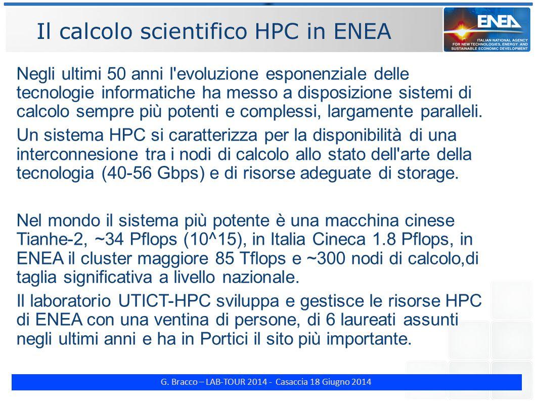 G. Bracco – LAB-TOUR 2014 - Casaccia 18 Giugno 2014 Il calcolo scientifico HPC in ENEA Negli ultimi 50 anni l'evoluzione esponenziale delle tecnologie