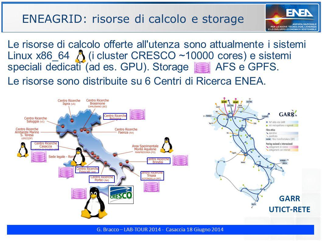 G. Bracco – LAB-TOUR 2014 - Casaccia 18 Giugno 2014 ENE Le risorse di calcolo offerte all'utenza sono attualmente i sistemi Linux x86_64 (i cluster CR