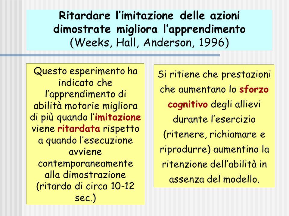 Ritardare l'imitazione delle azioni dimostrate migliora l'apprendimento (Weeks, Hall, Anderson, 1996) Questo esperimento ha indicato che l'apprendimen