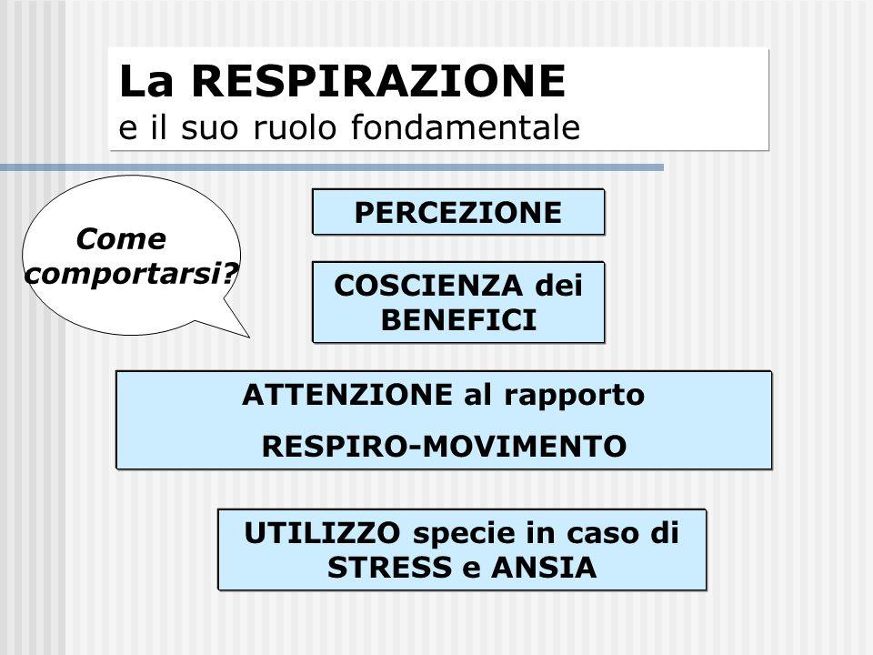 La RESPIRAZIONE e il suo ruolo fondamentale PERCEZIONE COSCIENZA dei BENEFICI ATTENZIONE al rapporto RESPIRO-MOVIMENTO UTILIZZO specie in caso di STRE