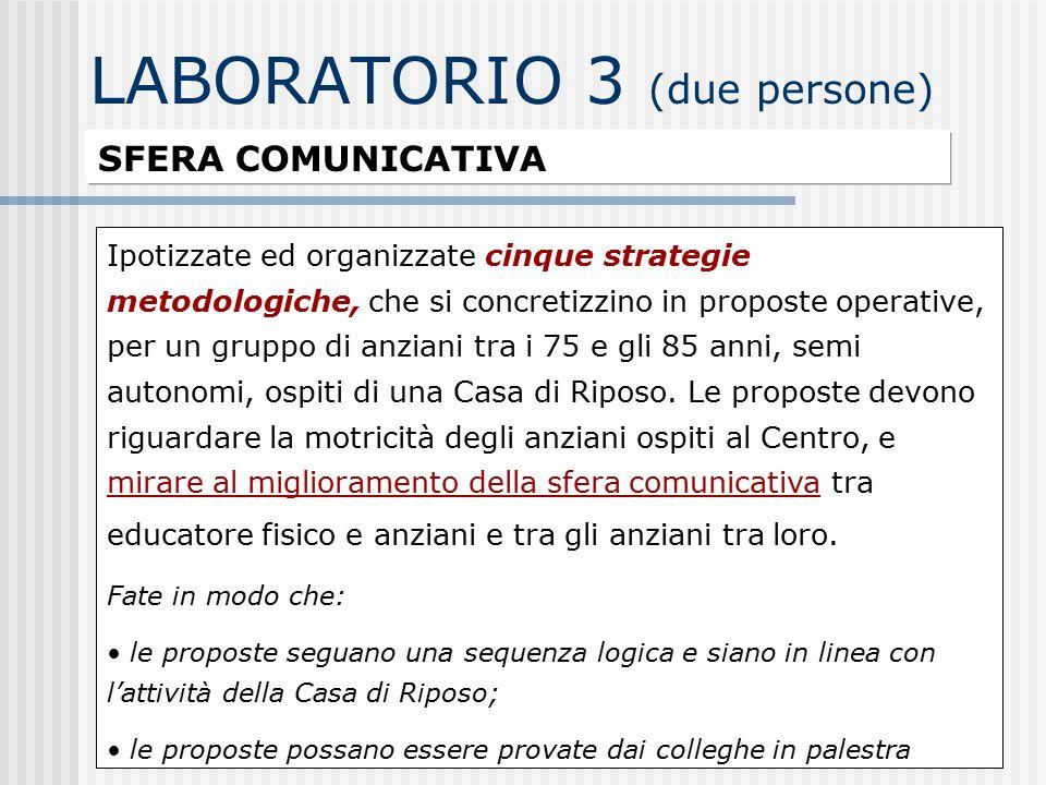 LABORATORIO 3 (due persone) SFERA COMUNICATIVA Ipotizzate ed organizzate cinque strategie metodologiche, che si concretizzino in proposte operative, p