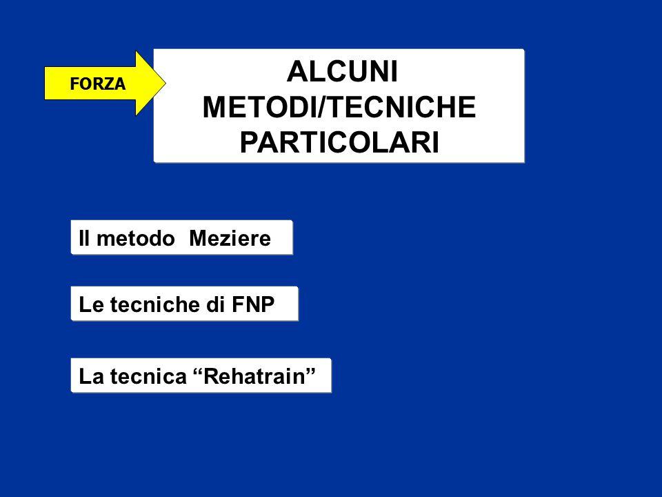 """ALCUNI METODI/TECNICHE PARTICOLARI Il metodo Meziere Le tecniche di FNP La tecnica """"Rehatrain"""" FORZA"""