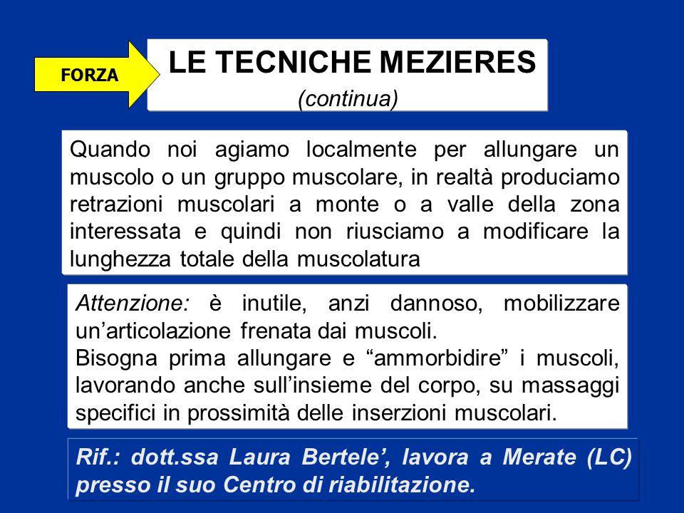 LE TECNICHE MEZIERES (continua) FORZA Quando noi agiamo localmente per allungare un muscolo o un gruppo muscolare, in realtà produciamo retrazioni mus