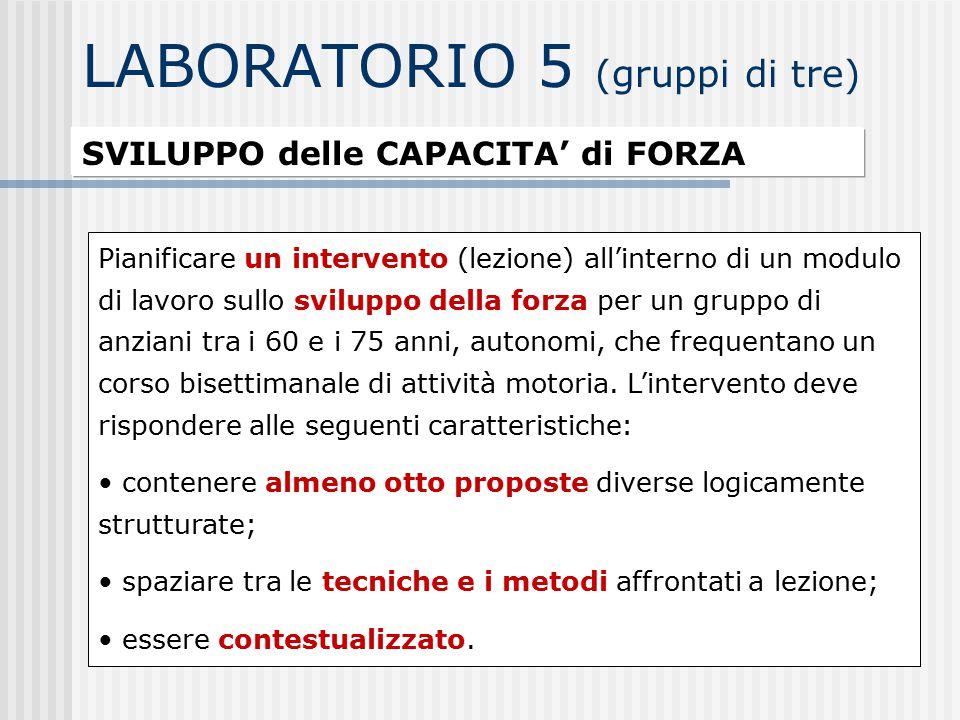 LABORATORIO 5 (gruppi di tre) SVILUPPO delle CAPACITA' di FORZA Pianificare un intervento (lezione) all'interno di un modulo di lavoro sullo sviluppo