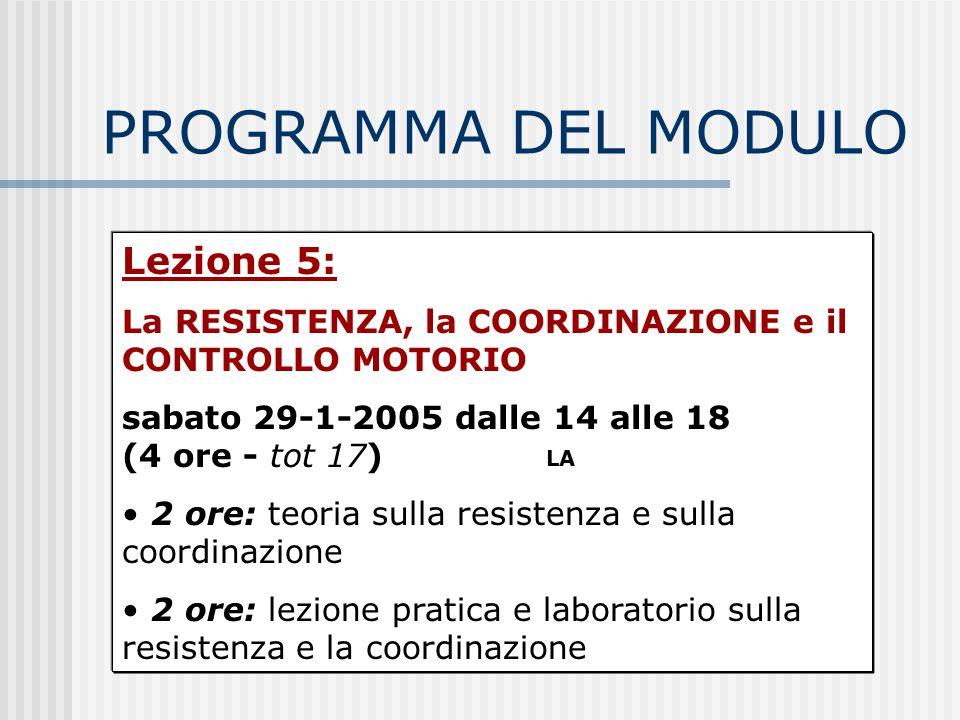 PROGRAMMA DEL MODULO Lezione 5: La RESISTENZA, la COORDINAZIONE e il CONTROLLO MOTORIO sabato 29-1-2005 dalle 14 alle 18 (4 ore - tot 17) 2 ore: teori