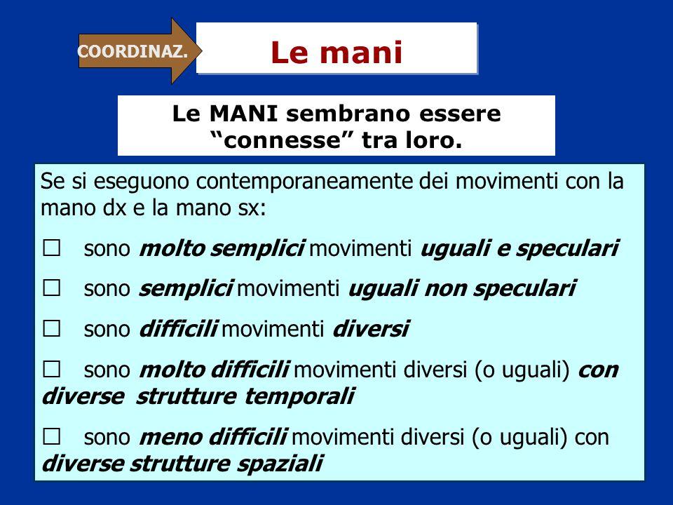 Le mani Se si eseguono contemporaneamente dei movimenti con la mano dx e la mano sx: ヤ sono molto semplici movimenti uguali e speculari ヤ sono semplic