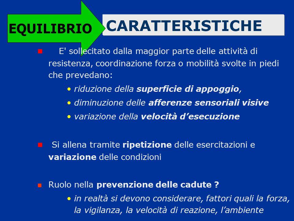 CARATTERISTICHE EQUILIBRIO E' sollecitato dalla maggior parte delle attività di resistenza, coordinazione forza o mobilità svolte in piedi che preveda