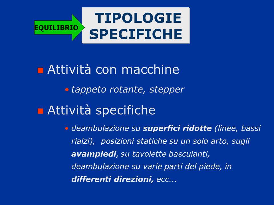 TIPOLOGIE SPECIFICHE Attività con macchine tappeto rotante, stepper Attività specifiche deambulazione su superfici ridotte (linee, bassi rialzi), posi