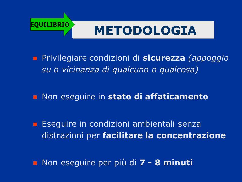 METODOLOGIA Privilegiare condizioni di sicurezza (appoggio su o vicinanza di qualcuno o qualcosa) Non eseguire in stato di affaticamento Eseguire in c