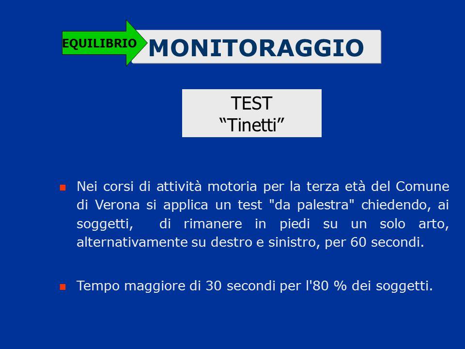 """MONITORAGGIO EQUILIBRIO TEST """"Tinetti"""" Nei corsi di attività motoria per la terza età del Comune di Verona si applica un test"""