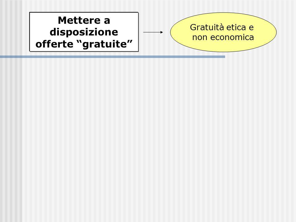 """Mettere a disposizione offerte """"gratuite"""" Gratuità etica e non economica"""