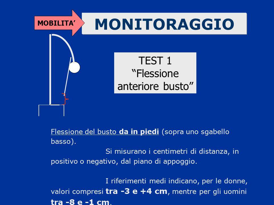 """MONITORAGGIO MOBILITA' TEST 1 """"Flessione anteriore busto"""" Flessione del busto da in piedi (sopra uno sgabello basso). Si misurano i centimetri di dist"""