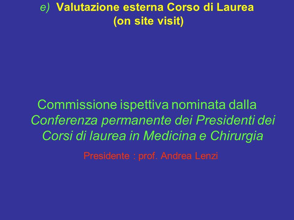 e) Valutazione esterna Corso di Laurea (on site visit) Commissione ispettiva nominata dalla Conferenza permanente dei Presidenti dei Corsi di laurea in Medicina e Chirurgia Presidente : prof.