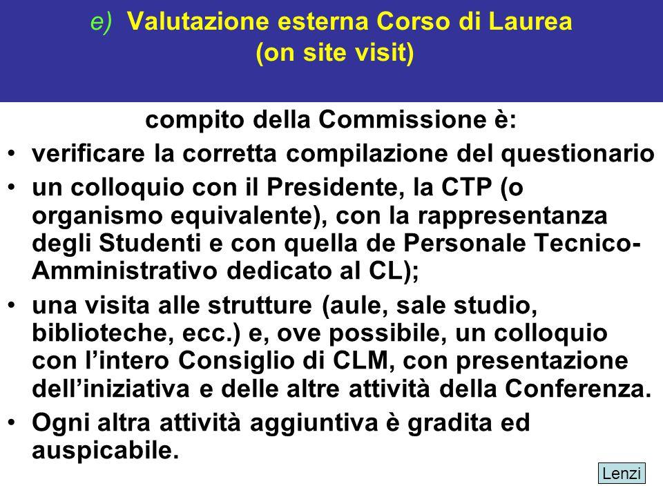 e) Valutazione esterna Corso di Laurea (on site visit) compito della Commissione è: verificare la corretta compilazione del questionario un colloquio