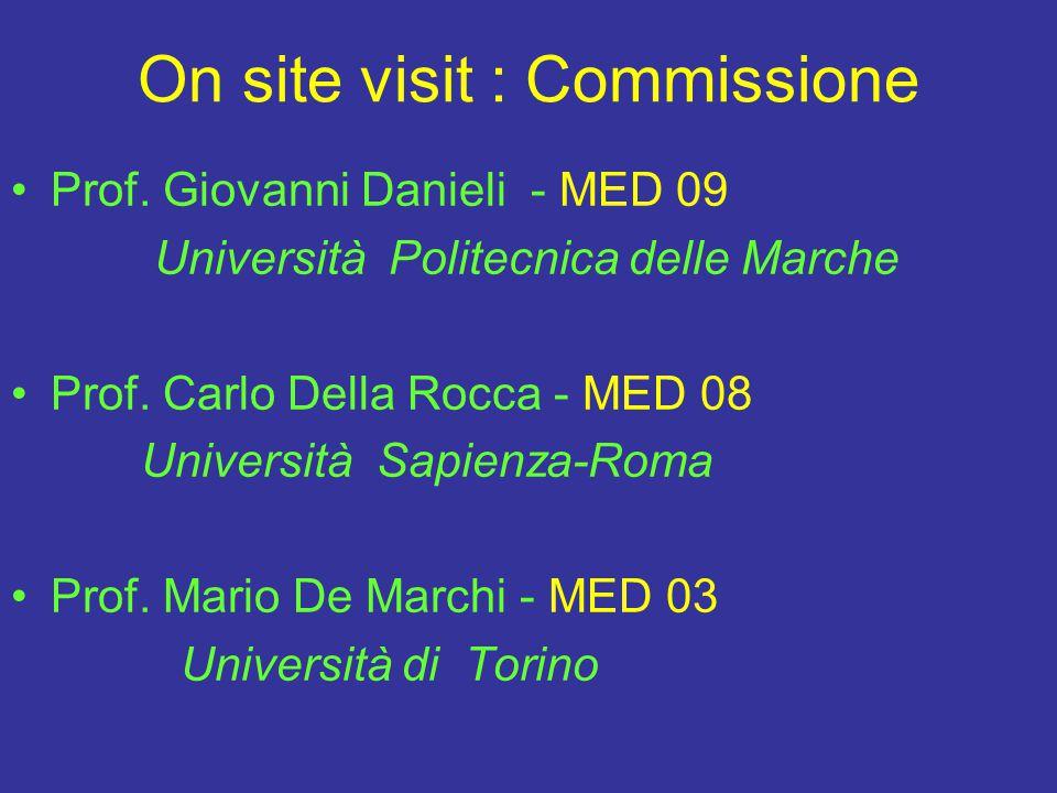 On site visit : Commissione Prof. Giovanni Danieli - MED 09 Università Politecnica delle Marche Prof. Carlo Della Rocca - MED 08 Università Sapienza-R