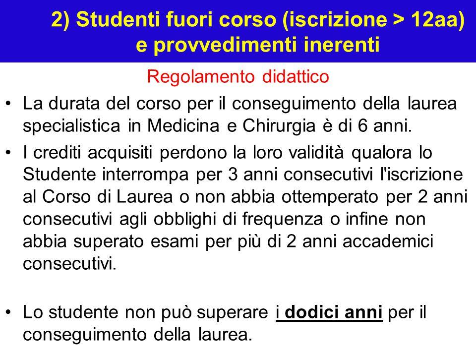 2) Studenti fuori corso (iscrizione > 12aa) e provvedimenti inerenti Regolamento didattico La durata del corso per il conseguimento della laurea specialistica in Medicina e Chirurgia è di 6 anni.