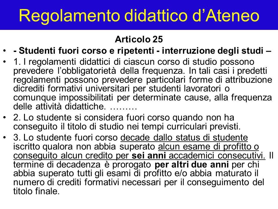 Regolamento didattico d'Ateneo Articolo 25 - Studenti fuori corso e ripetenti - interruzione degli studi – 1. I regolamenti didattici di ciascun corso