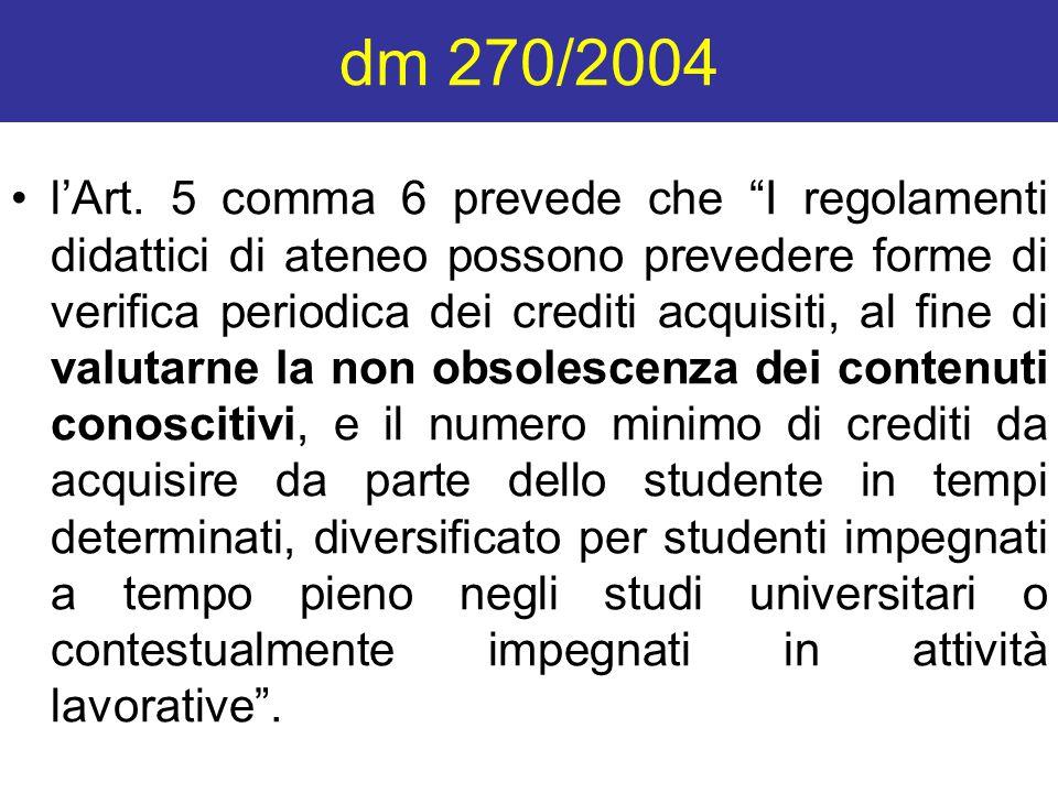 """dm 270/2004 l'Art. 5 comma 6 prevede che """"I regolamenti didattici di ateneo possono prevedere forme di verifica periodica dei crediti acquisiti, al fi"""
