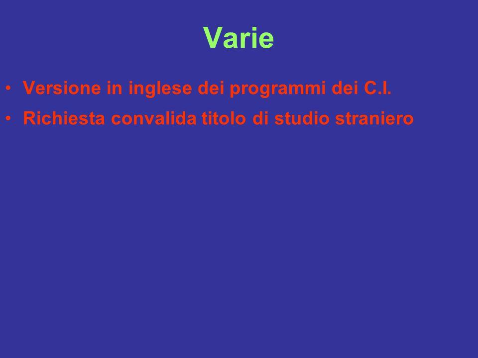 Varie Versione in inglese dei programmi dei C.I. Richiesta convalida titolo di studio straniero