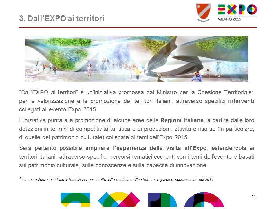 """3. Dall'EXPO ai territori """"Dall'EXPO ai territori"""" è un'iniziativa promossa dal Ministro per la Coesione Territoriale* per la valorizzazione e la prom"""