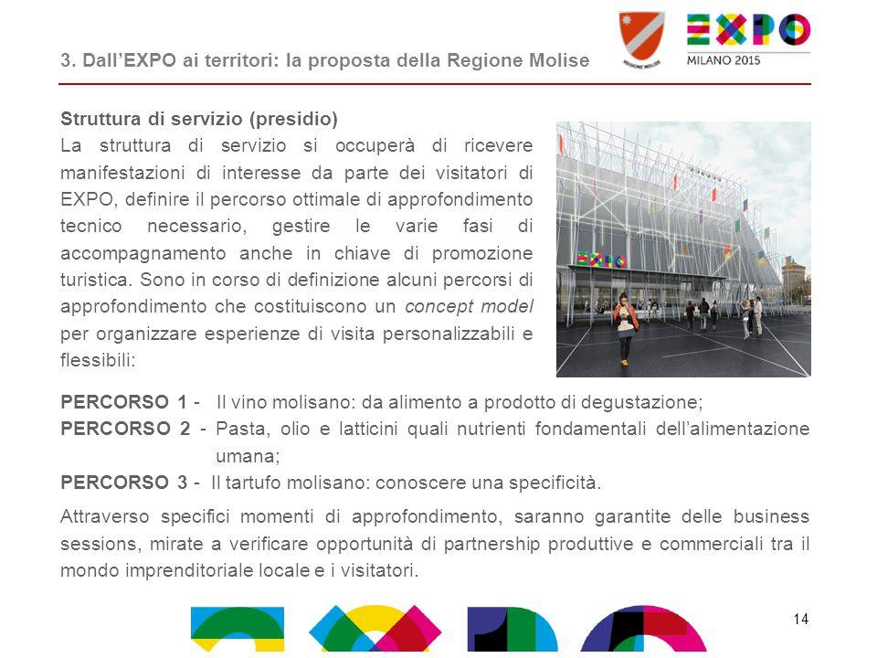 Struttura di servizio (presidio) La struttura di servizio si occuperà di ricevere manifestazioni di interesse da parte dei visitatori di EXPO, definir