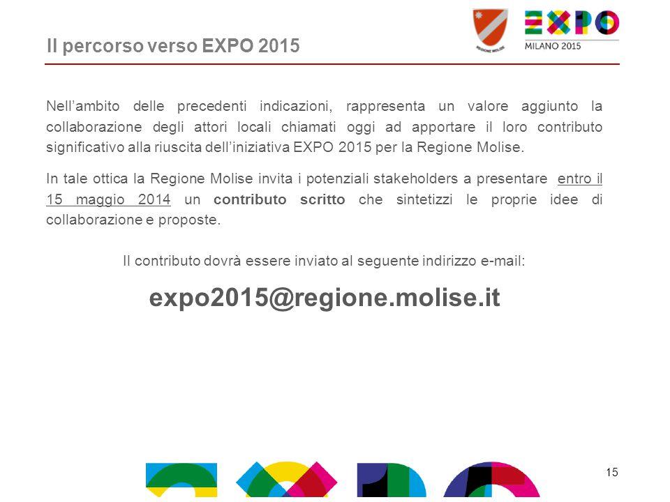 Il percorso verso EXPO 2015 Nell'ambito delle precedenti indicazioni, rappresenta un valore aggiunto la collaborazione degli attori locali chiamati oggi ad apportare il loro contributo significativo alla riuscita dell'iniziativa EXPO 2015 per la Regione Molise.