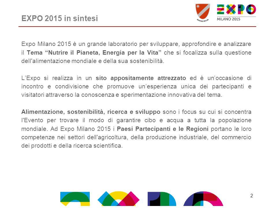 """EXPO 2015 in sintesi Expo Milano 2015 è un grande laboratorio per sviluppare, approfondire e analizzare il Tema """"Nutrire il Pianeta, Energia per la Vi"""