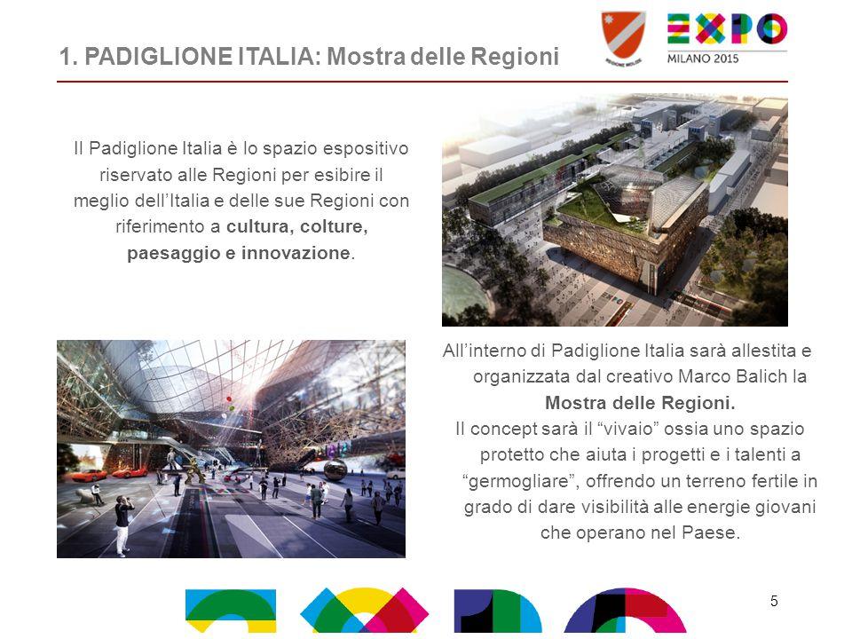 1. PADIGLIONE ITALIA: Mostra delle Regioni All'interno di Padiglione Italia sarà allestita e organizzata dal creativo Marco Balich la Mostra delle Reg