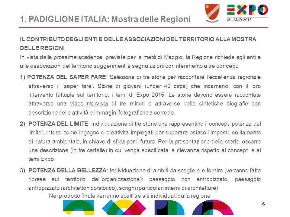 1. PADIGLIONE ITALIA: Mostra delle Regioni IL CONTRIBUTO DEGLI ENTI E DELLE ASSOCIAZIONI DEL TERRITORIO ALLA MOSTRA DELLE REGIONI In vista delle pross