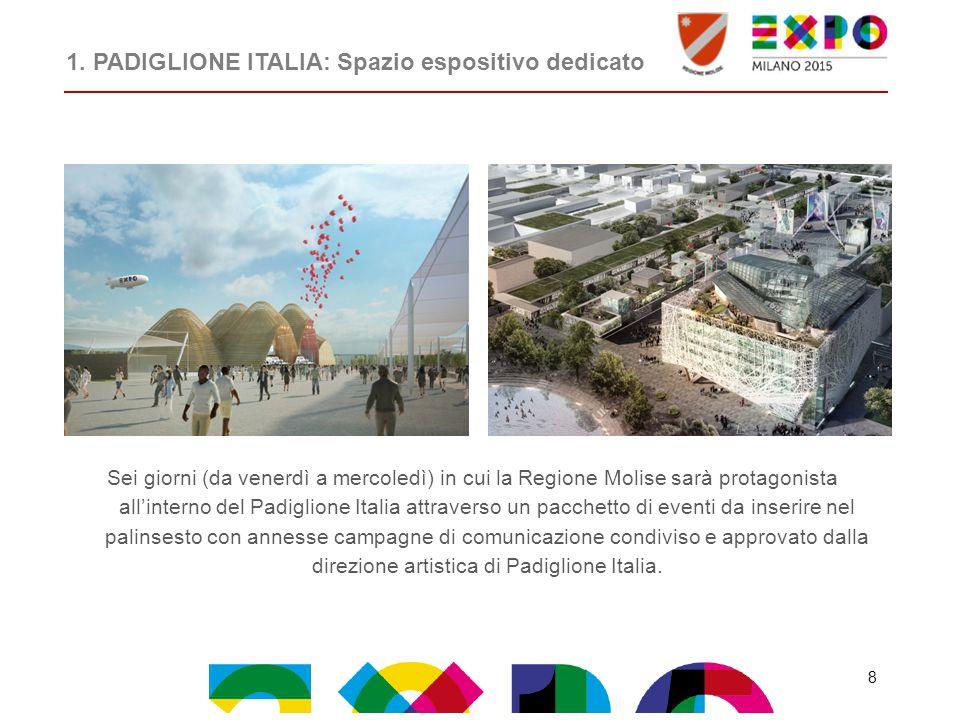 Sei giorni (da venerdì a mercoledì) in cui la Regione Molise sarà protagonista all'interno del Padiglione Italia attraverso un pacchetto di eventi da