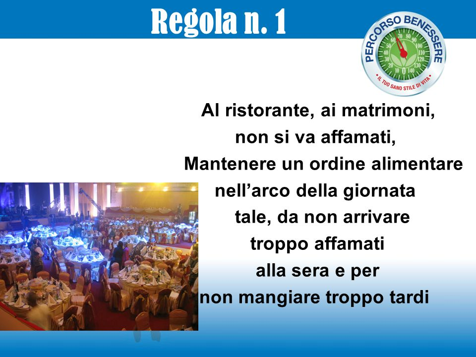 Regola n. 1 Al ristorante, ai matrimoni, non si va affamati, Mantenere un ordine alimentare nell'arco della giornata tale, da non arrivare troppo affa