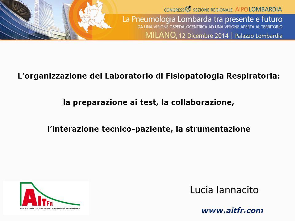 L'organizzazione del Laboratorio di Fisiopatologia Respiratoria: la preparazione ai test, la collaborazione, l'interazione tecnico-paziente, la strumentazione Lucia Iannacito www.aitfr.com