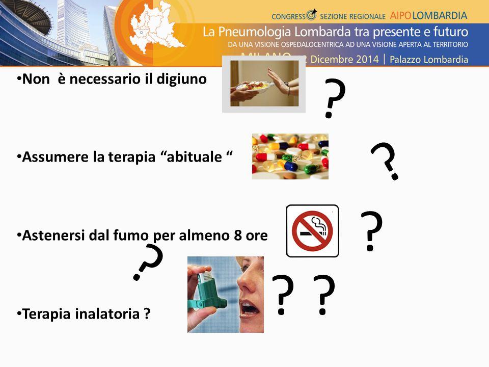 Non è necessario il digiuno Assumere la terapia abituale Astenersi dal fumo per almeno 8 ore Terapia inalatoria .