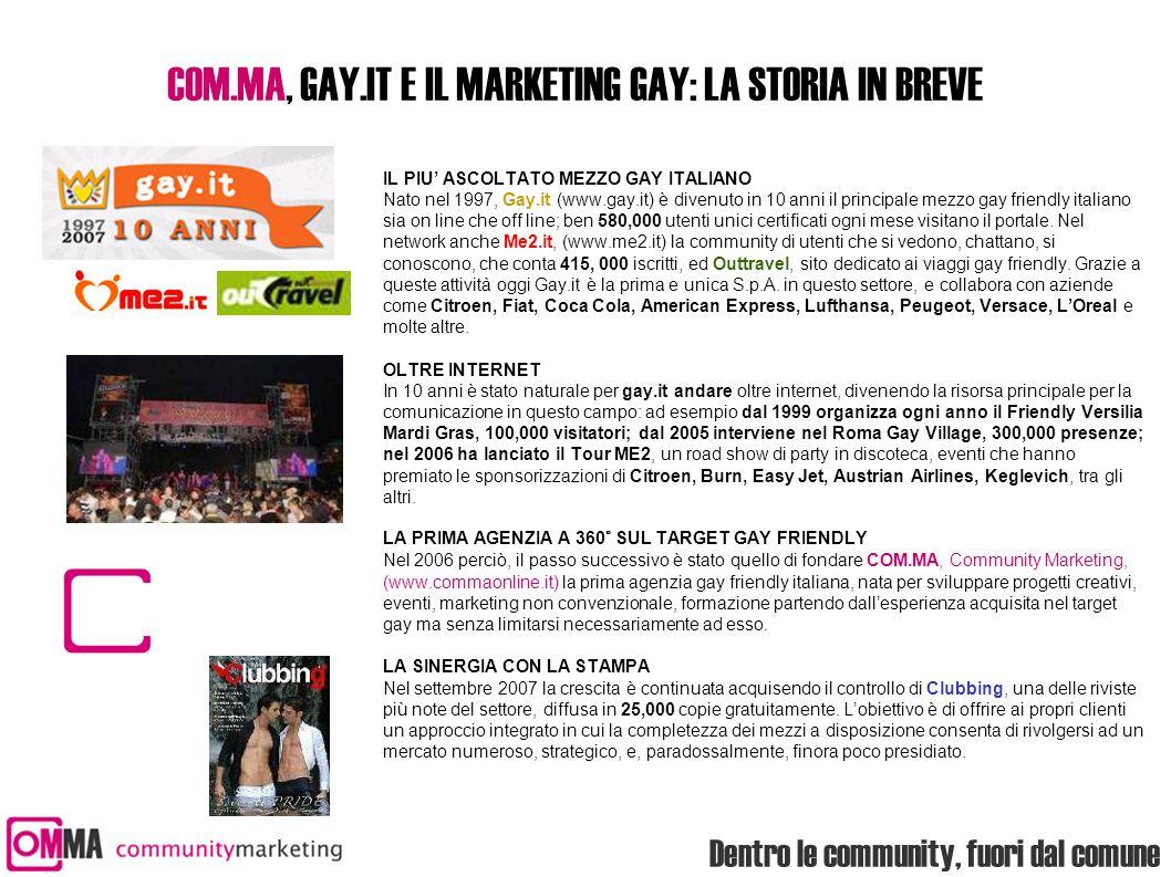 Dentro le community, fuori dal comune COM.MA, GAY.IT E IL MARKETING GAY: LA STORIA IN BREVE IL PIU' ASCOLTATO MEZZO GAY ITALIANO Nato nel 1997, Gay.it (www.gay.it) è divenuto in 10 anni il principale mezzo gay friendly italiano sia on line che off line; ben 580,000 utenti unici certificati ogni mese visitano il portale.