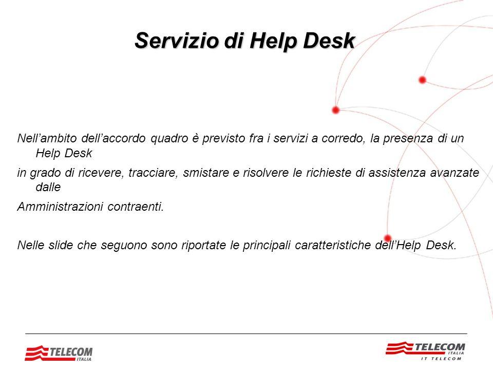 Nell'ambito dell'accordo quadro è previsto fra i servizi a corredo, la presenza di un Help Desk in grado di ricevere, tracciare, smistare e risolvere le richieste di assistenza avanzate dalle Amministrazioni contraenti.